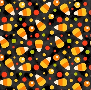 Halloween Fun Candy Corn Toss Kernels and Dots on Black Cotton Fabric