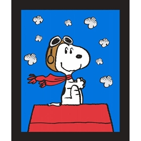 Peanuts Snoopy and The Red Baron Doghouse Large Cotton Fabric Panel