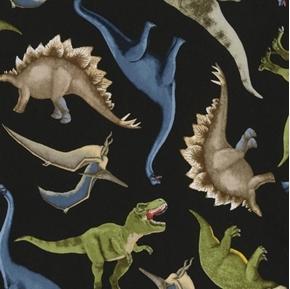 Dinosaur Toss Dinosaurs T-Rex Stegosaurus Pterodactyl Cotton Fabric