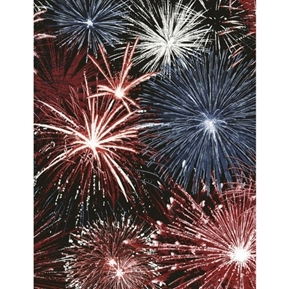 Picture of Fireworks Patriotic Red White and Blue Fireworks Cotton Fabric