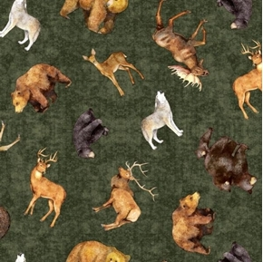 Picture of Timberland Trail Tossed Animals Bear Wolf Deer Green Cotton Fabric