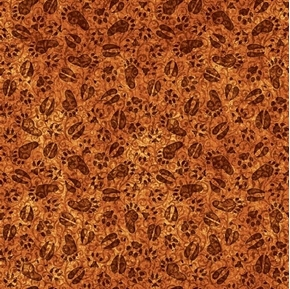 Picture of Timberland Trail Animal Tracks Woodland Footprints Rust Cotton Fabric