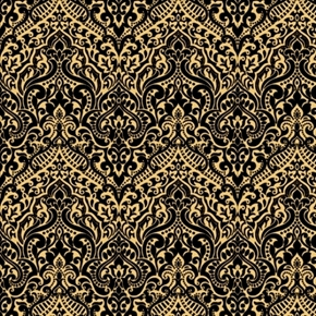 Luminous Lace Chevron Brocade Metallic Gold on Black Cotton Fabric