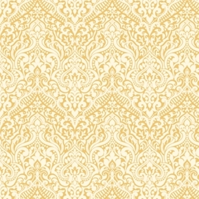 Luminous Lace Chevron Brocade Metallic Gold on Cream Cotton Fabric