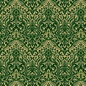 Luminous Lace Chevron Brocade Metallic Gold on Green Cotton Fabric