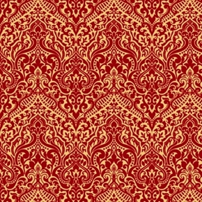 Picture of Luminous Lace Chevron Brocade Metallic Gold on Wine Red Cotton Fabric