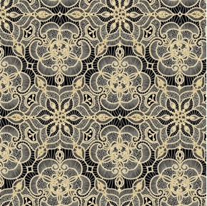 Picture of Luminous Holiday Lace Medallion Metallic Gold on Black Cotton Fabric