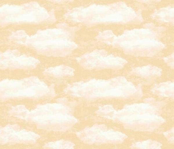 Faith White Puffy Clouds on a Cream Sky Cotton Fabric