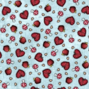 My Story Heart and Mushroom Toss Gorjuss Girl Blue Cotton Fabric