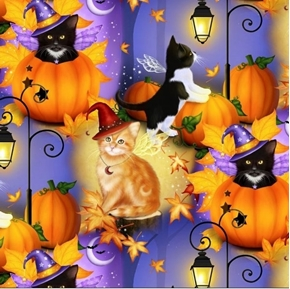 Picture of Halloween Fun Cat Fairies Kittens in Pumpkins Purple Cotton Fabric