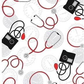 Calling all Nurses Blood Pressure Stethoscope Medical Cotton Fabric