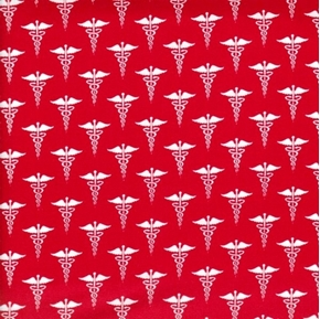 Calling all Nurses Nurse Symbols Caduceus Medical Red Cotton Fabric