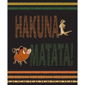 Disney Hakuna Matata Lion King Pumba Timba Large Cotton Fabric Panel