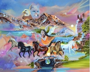 Picture of Native American Spirit of the Horse Large Digital Cotton Fabric Panel