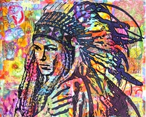 Picture of Native American Tiva in Head Dress Colorful Large Cotton Fabric Panel