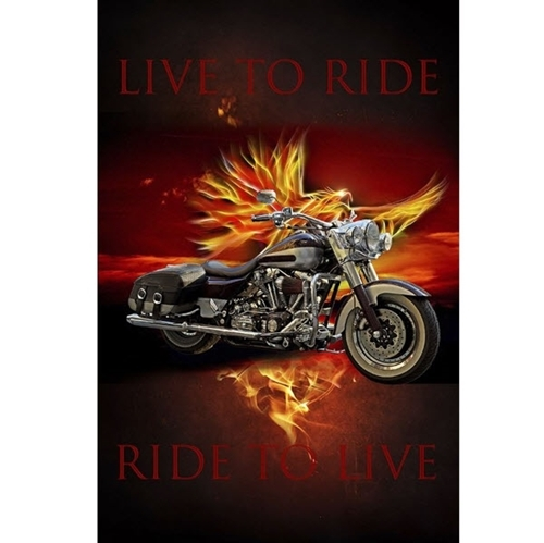 Picture of Live to Ride Flaming Motorcycle Bike Large Digital Cotton Fabric Panel