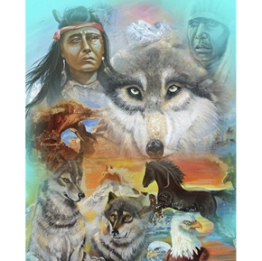 Native American Spirit is in the Rocks Wolf Large Cotton Fabric Panel