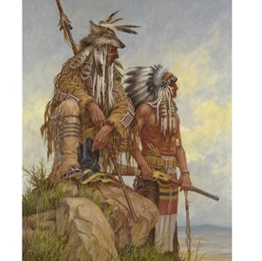 Native American Watching the Pony Soldiers Large Cotton Fabric Panel