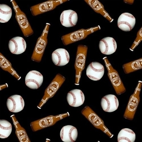 One of a Kind Baseball 7th Inning Stretch Beer Baseballs Cotton Fabric