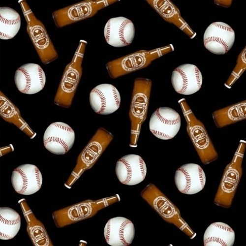 Picture of One of a Kind Baseball 7th Inning Stretch Beer Baseballs Cotton Fabric