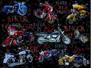 Picture of Biker by Choice Motorcycles Bikes Custom Motorcycle Cotton Fabric