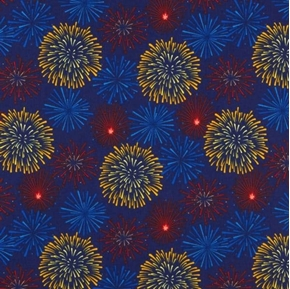 Lady Liberty Fireworks Celebration on Blue Cotton Fabric
