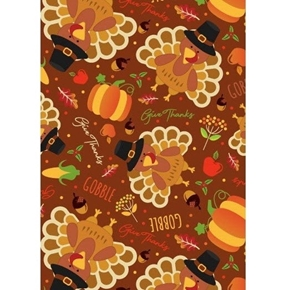 Picture of Harvest and Thanksgiving Turkey Gobble Give Thanks Cotton Fabric