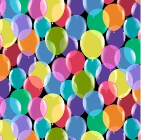 Pop Culture Balloons Colorful Party Balloon Black Cotton Fabric