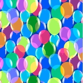 Picture of Pop Culture Balloons Colorful Party Balloon Royal Blue Cotton Fabric