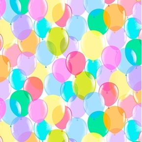 Pop Culture Balloons Colorful Party Balloon White Cotton Fabric