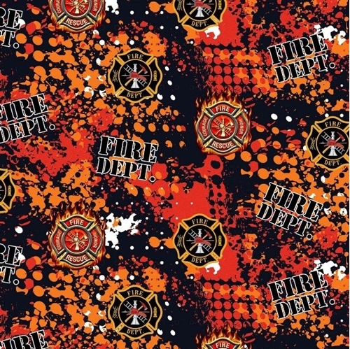 Firefighter Abstract Geo Logo Fire Dept Rescue Cotton Fabric