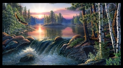 Back Country Hideaway Woodland Lake Sunset 24x44 Cotton Fabric Panel