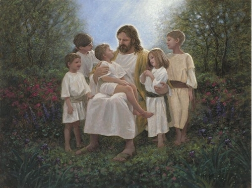 Jesus and the Children Religious Christ Digital Cotton Fabric Panel
