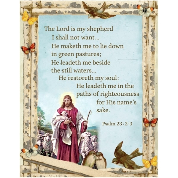 Cotton Fabric Digital Fabric Panel Psalm 23 The Lord Is My Shepherd 4my3boyz Fabric