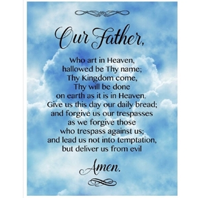 The Lords Prayer Our Father Who Art in Heaven Cotton Fabric Panel