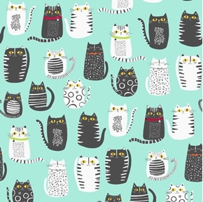 Picture of Cat Fish Cats Fat Cat Drawings Black and Gray on Aqua Cotton Fabric