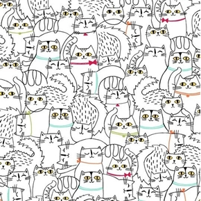 Picture of Cat Fish Sketched Cats Cat Drawings Black on White Cotton Fabric