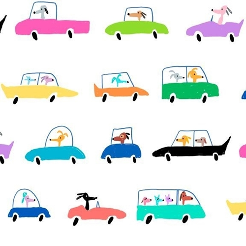 Picture of Dogtown Dogs in Cars Driving Colorful Dog White Cotton Fabric