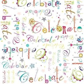 Lets Celebrate Words Party Candles Birthday White Cotton Fabric