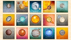 Picture of Intergalactic Planets Picture Patches Cream 24x44 Cotton Fabric Panel