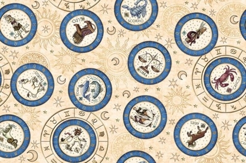 Picture of Intergalactic Zodiac Medallions Astrology Cream Cotton Fabric