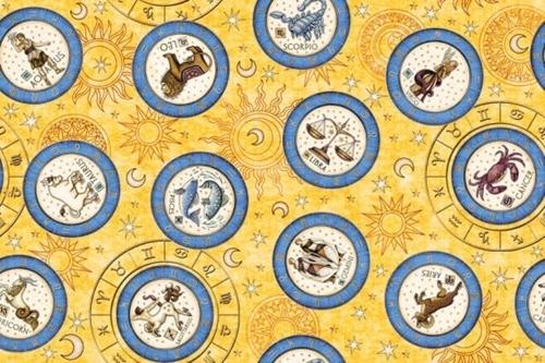 Intergalactic Zodiac Medallions Astrology Yellow Cotton Fabric