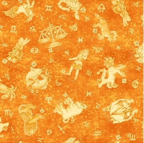 Intergalactic Zodiacs Zodiac Symbols Astrology Orange Cotton Fabric
