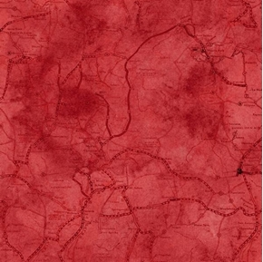 Picture of Rule The Road Motorcycle Road Map Travel Red Cotton Fabric