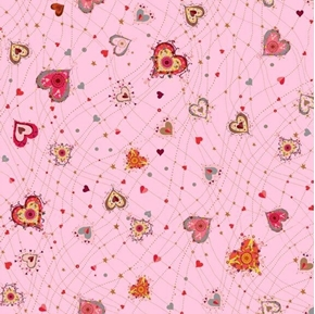 With Love Medium Hearts Red on Pink Valentine Heart Cotton Fabric