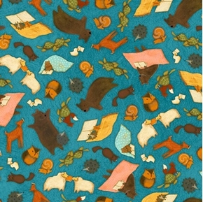 Reading Together Animal Toss Santoro Poppi Loves Blue Cotton Fabric