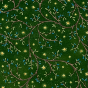Picture of Three Wise Men Leaf Vine and Stars Christmas Star Green Cotton Fabric