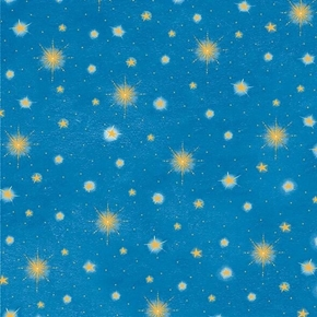 Three Wise Men Stars Glistening Christmas Star Blue Cotton Fabric
