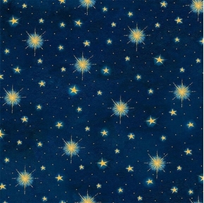 Three Wise Men Stars Glistening Christmas Star Navy Blue Cotton Fabric