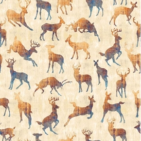 Picture of Timberland Trail Animal Silhouettes Deer Doe Buck Beige Cotton Fabric